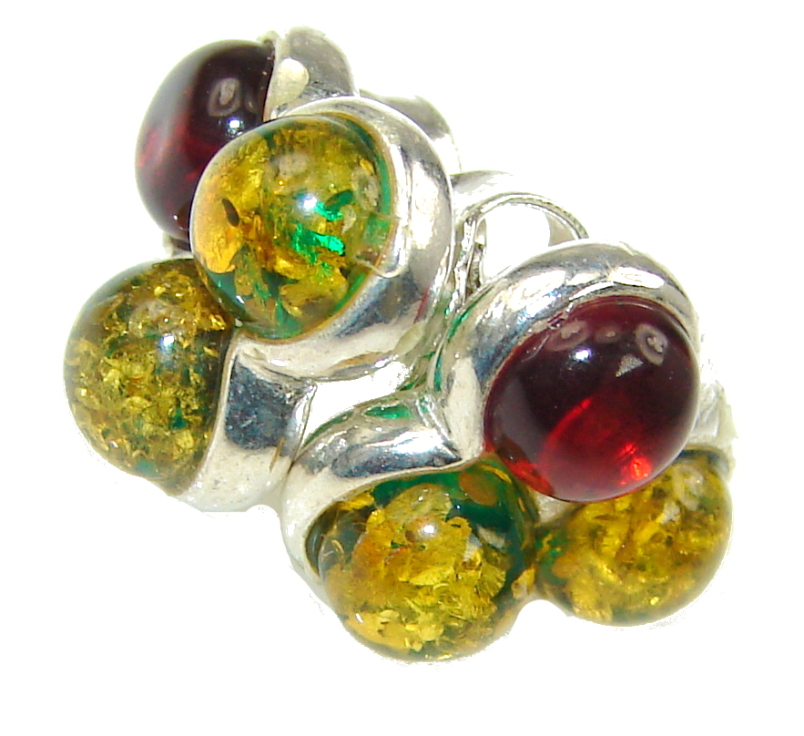 Petite! AAA Baltic Brown & Green Polish Amber Sterling Silver earrings