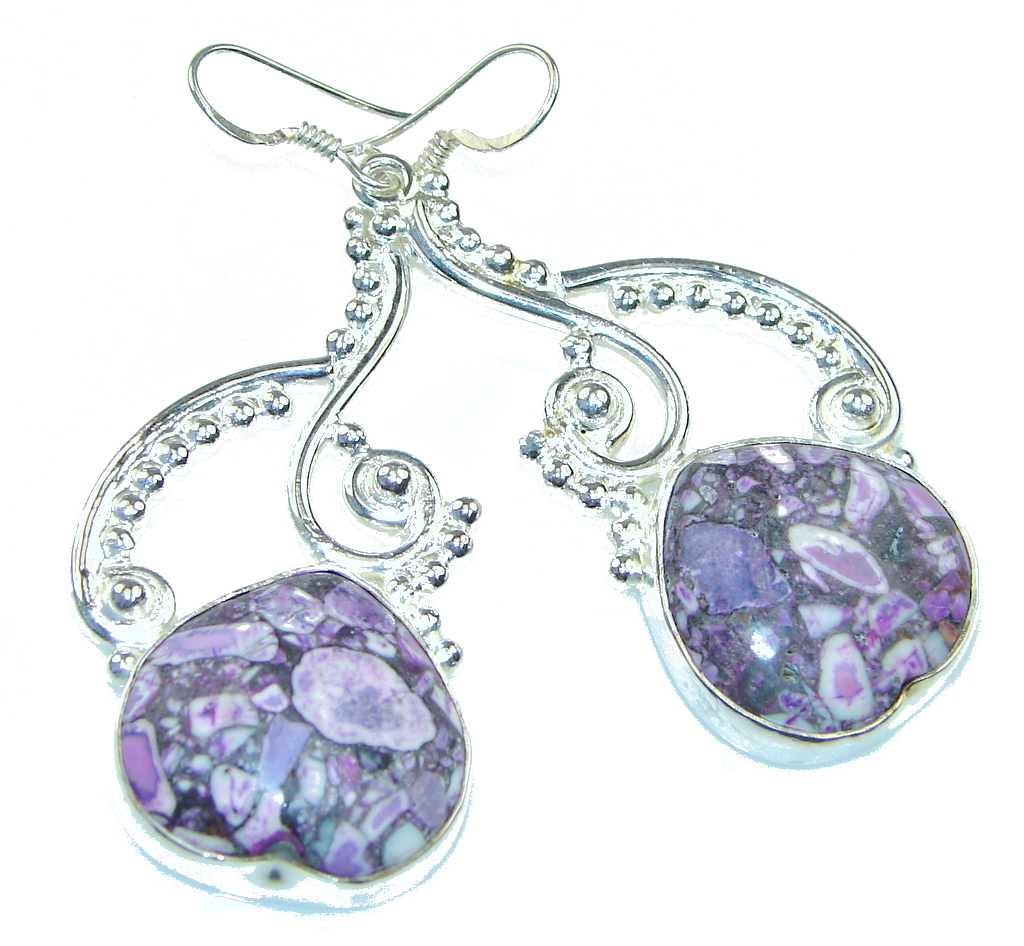 Classy! Dyed Purple Crinoid Fossil Sterling Silver earrings