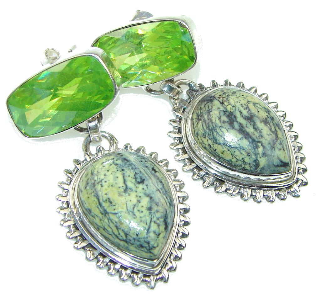 Green Jungle! Rainforest Jasper Sterling Silver earrings