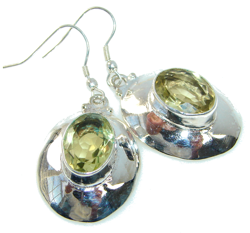 Delicate Angel! Yellow Citrine Sterling Silver earrings