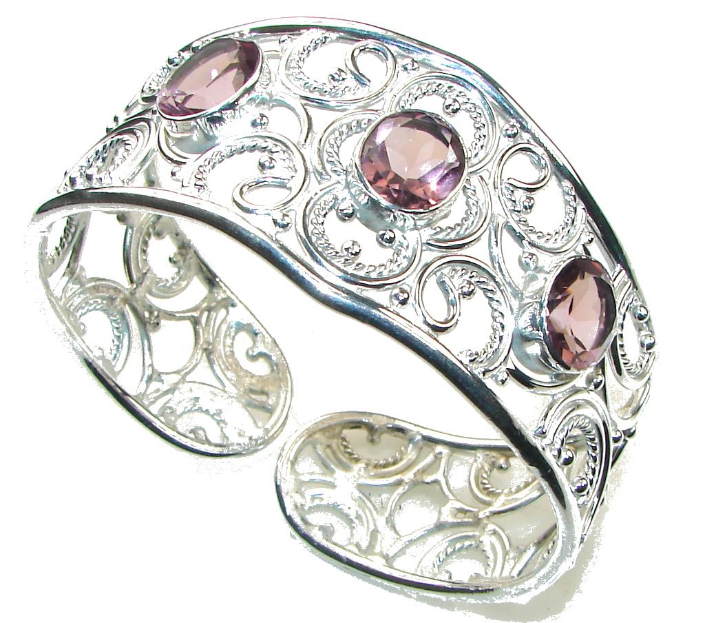 Royal Style! Light Purple Amethyst Silver Overlay Bracelet / Cuff