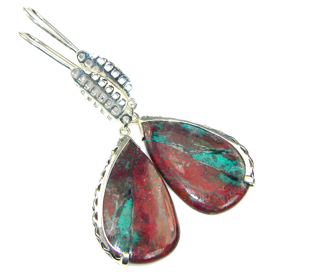 Galaxy Queen! AAA Red Sonora Jasper Sterling Silver Earrings / Long