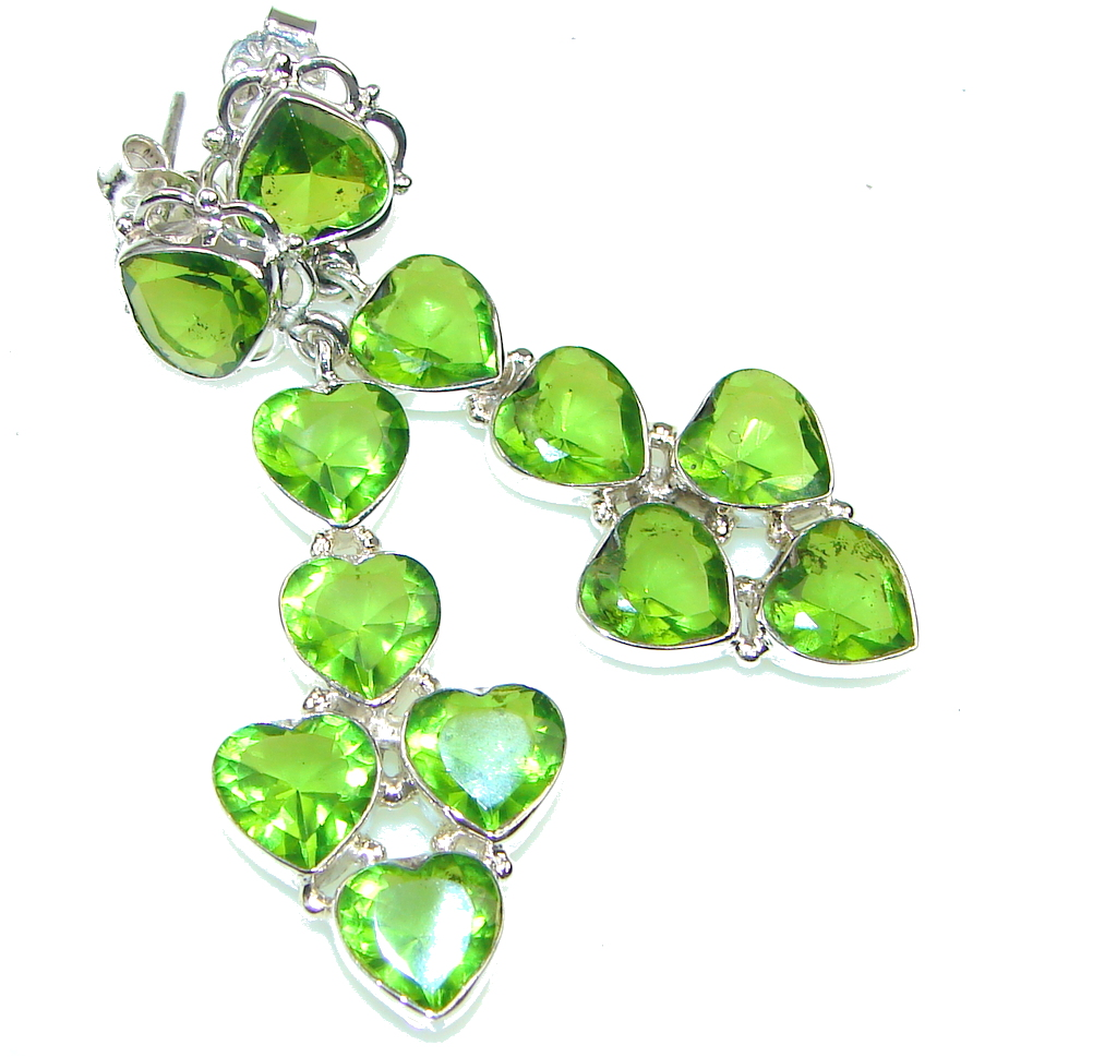 Excellent Created Green Peridot Sterling Silver earrings