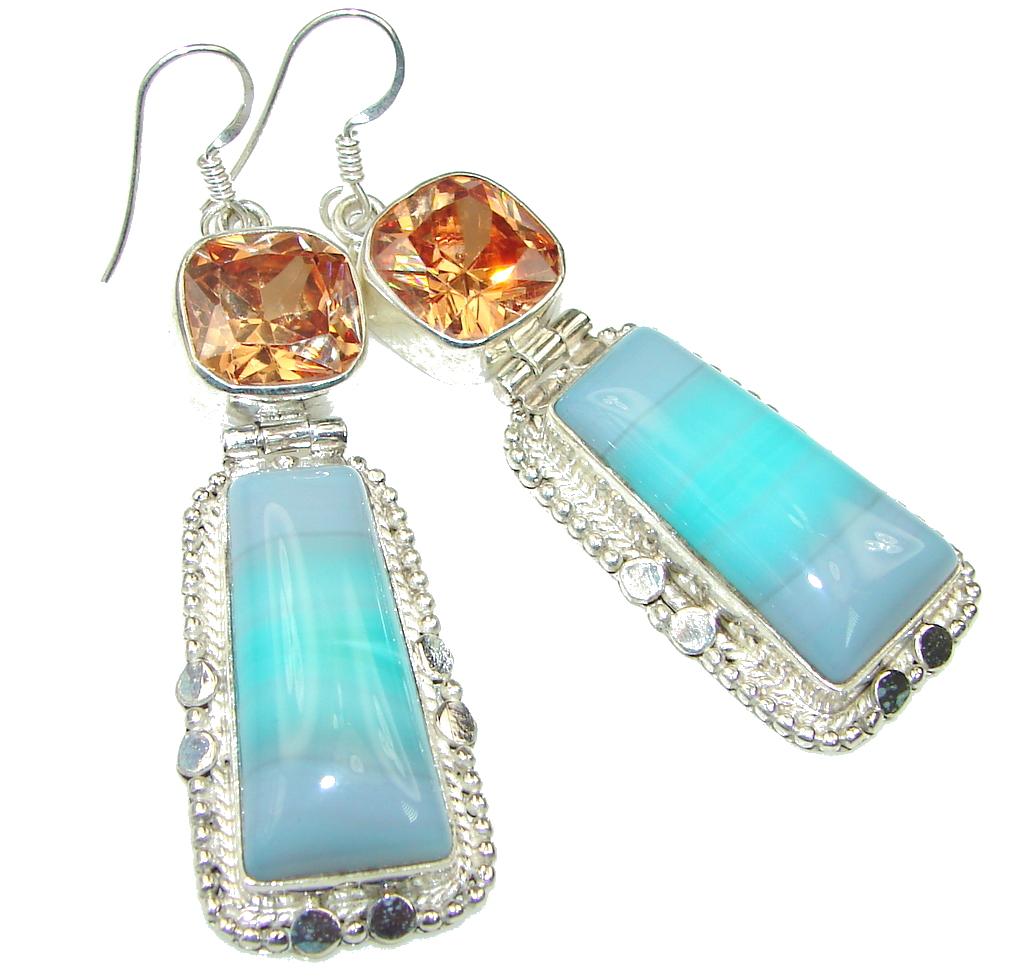 Big! Color Of The Ocean! Botswana Agate Sterling Silver earrings