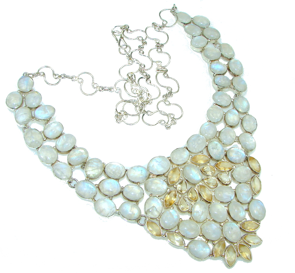 AAA White Fire Moonstone & Citrine Sterling Silver necklace