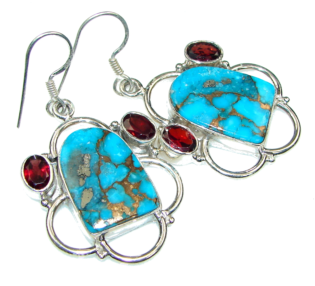 Frost Breeze! Copper Turquoise Sterling Silver earrings