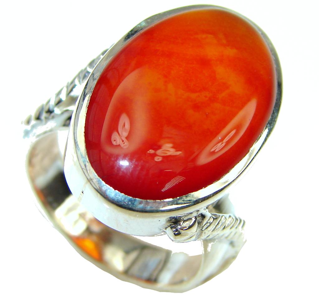 Simple Design! Orange Agate Sterling Silver Ring s. 10 1/2
