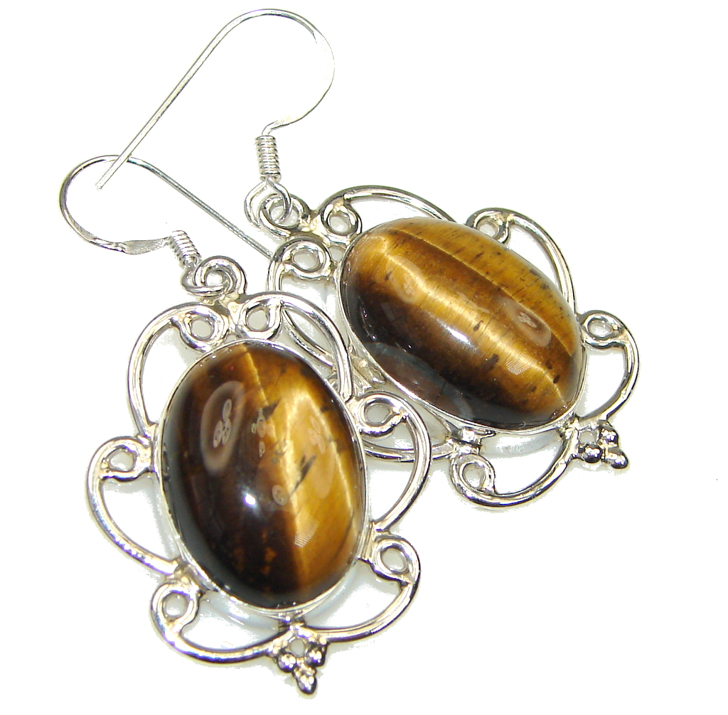 Genuine! Brown Tigers Eye Sterling Silver Earrings