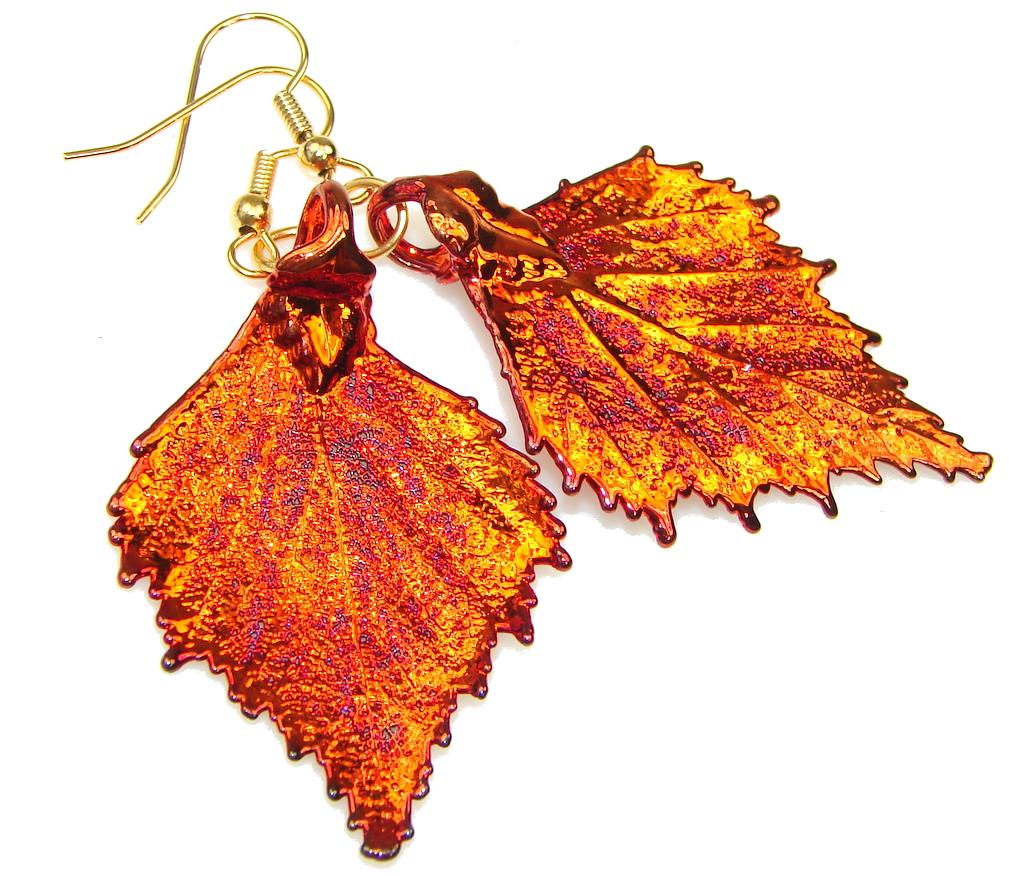 Big! Stylish Deep In Copper Leaf Sterling Silver earrings