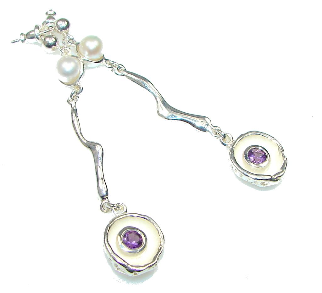 Italy Made! Stunning Purple Amethyst & Fresh Water Pearl Sterling Silver earrings / Long