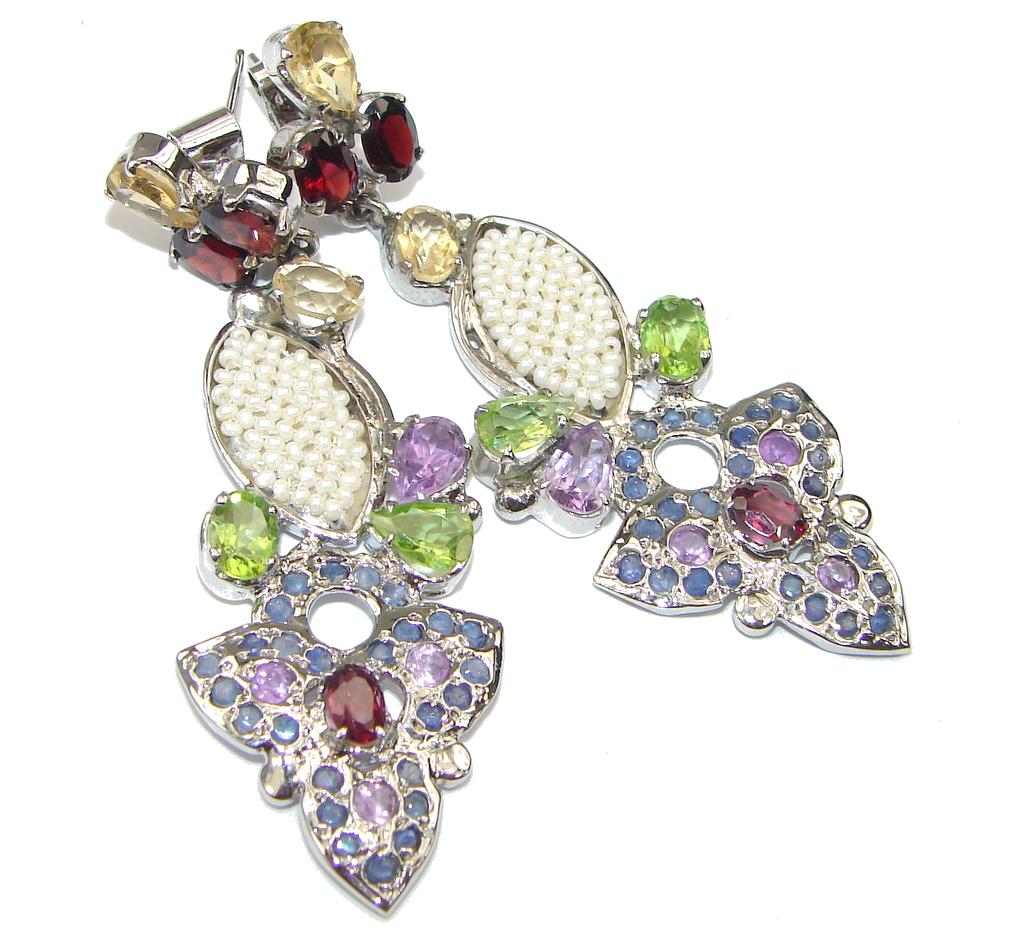 Large! Rich Personality! Purple Amethyst Sterling Silver earrings