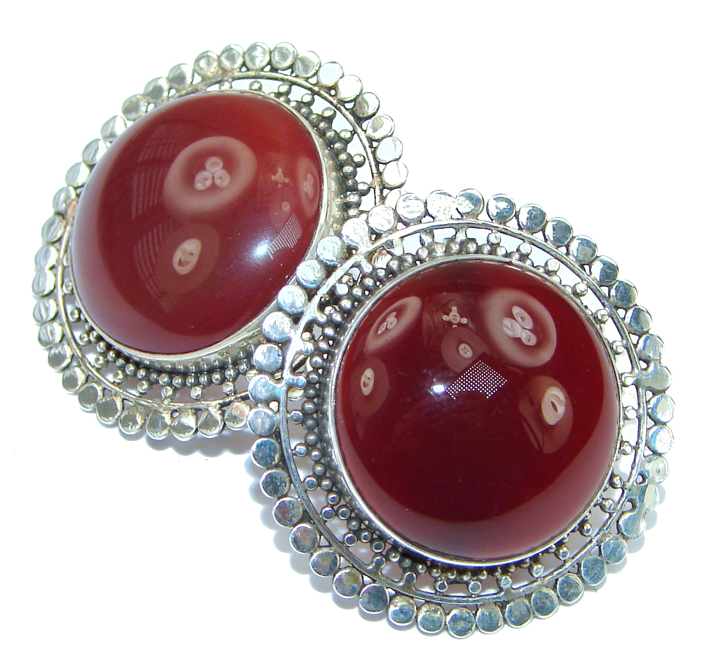 Big! Simple! Dark Brown Carnelian Sterling Silver earrings
