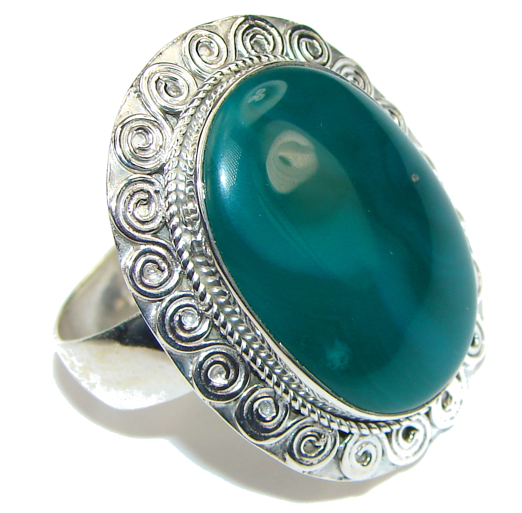 Big! Green Island! Agate Sterling Silver Ring s. 11