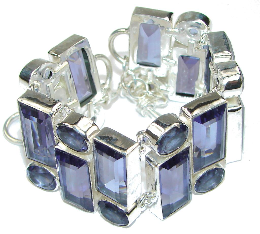Sweetheart! Created Purple Amethyst Sterling Silver Bracelet