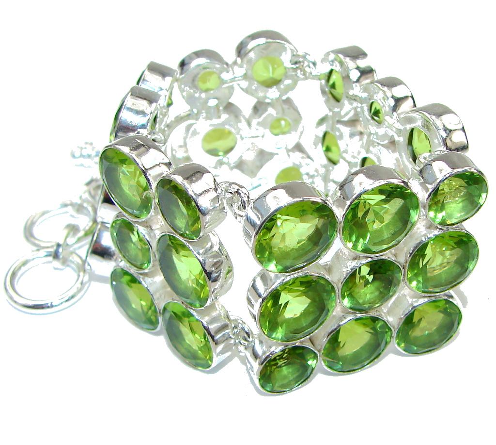 Green Secret! Created Peridot Sterling Silver Bracelet