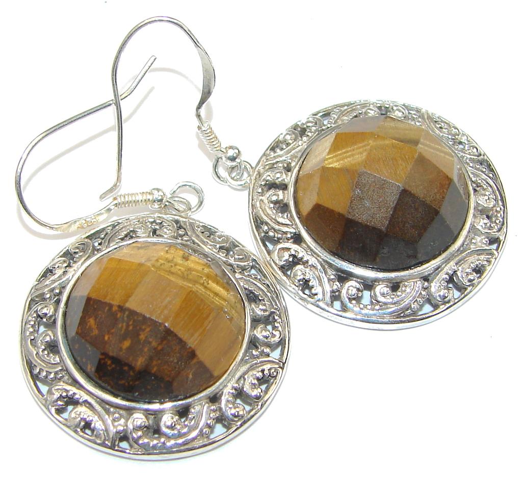 Bali Secret! Brown Tigers Eye Sterling Silver Earrings