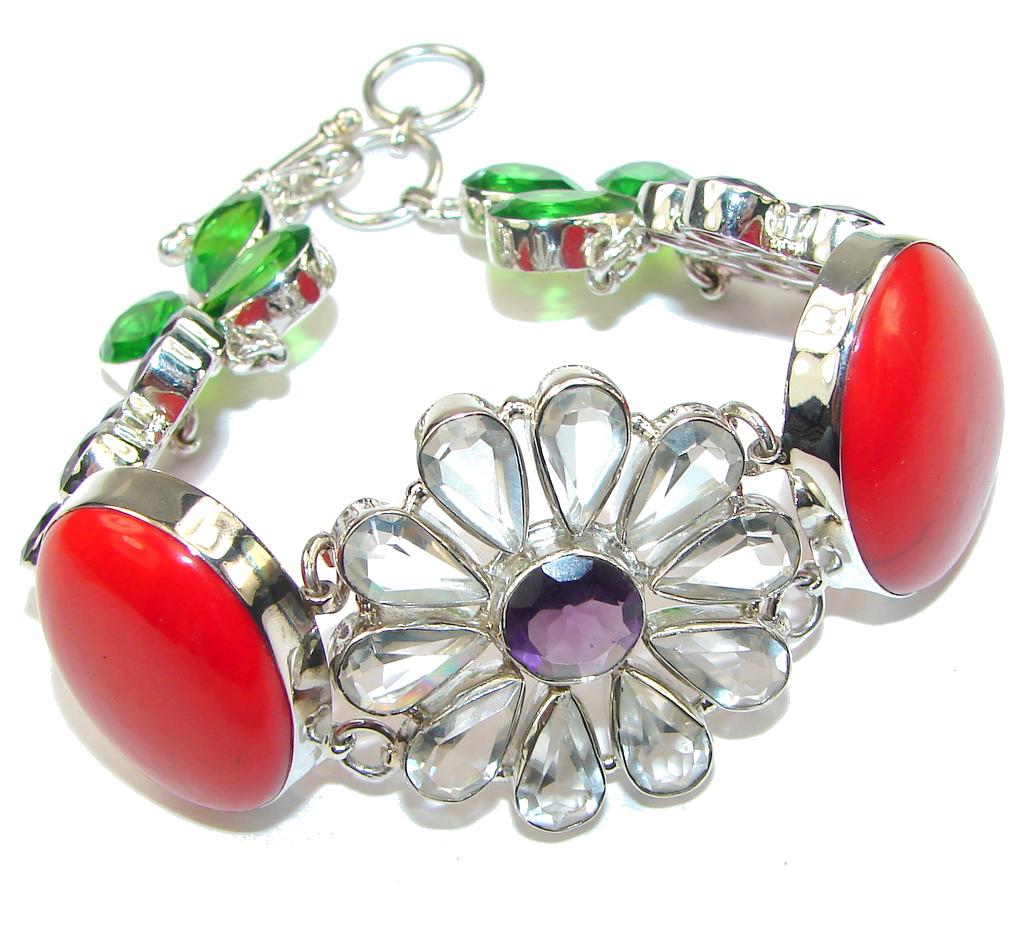 Weaving Light! Red Fossilized Coral & Amethyst Sterling Silver Bracelet