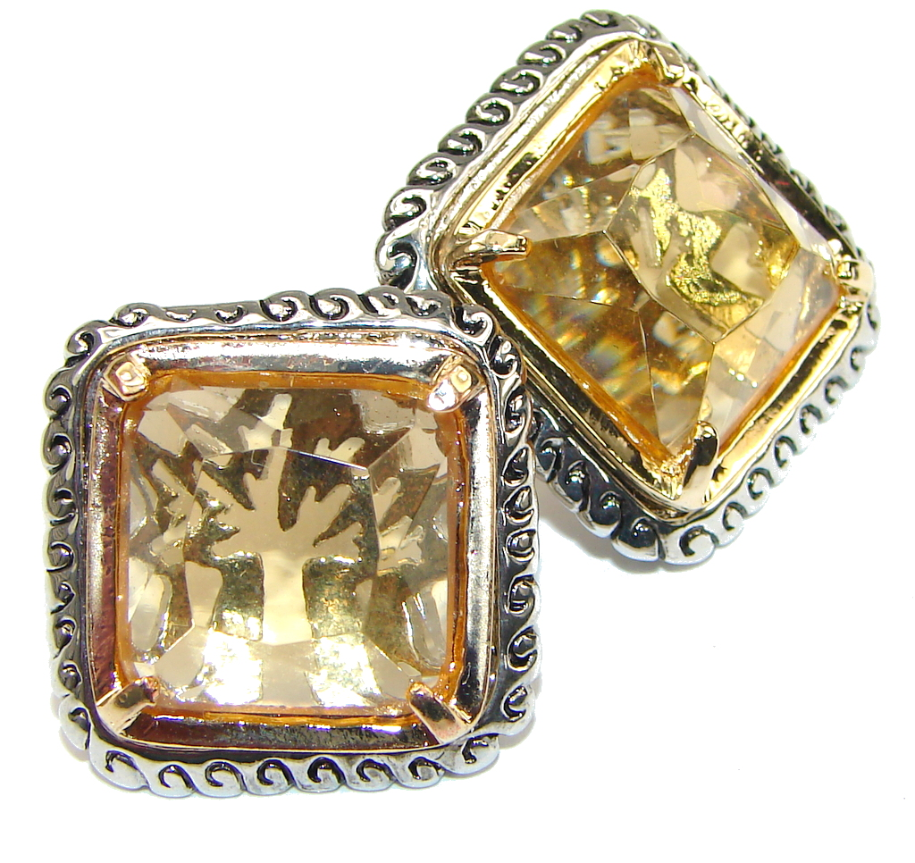 Big! Fancy Quality! Golden Topaz Quartz Sterling Silver earrings
