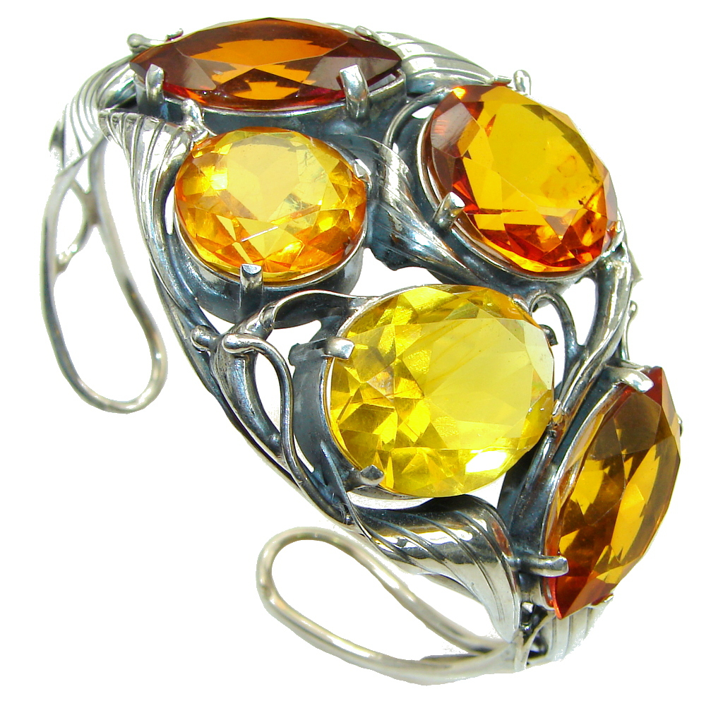 Beautiful! Genuine Handcrafted Polish Amber Sterling Silver Bracelet / Cuff