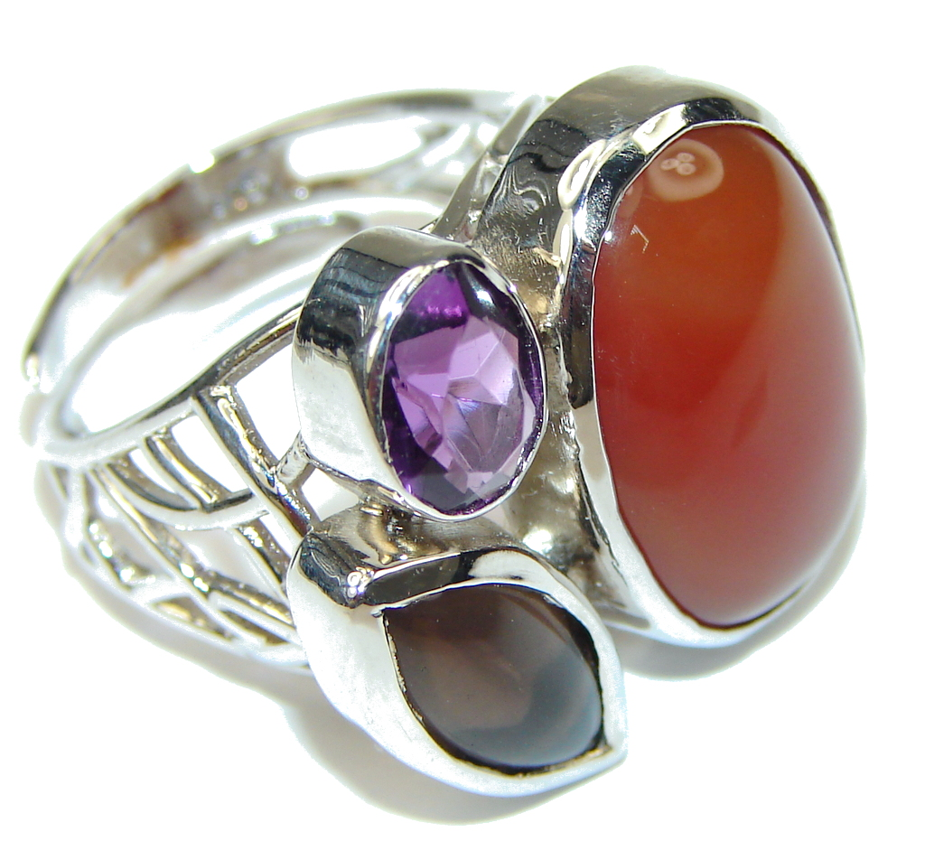 Pale Beauty! Orange Agate Sterling Silver Ring s. 8- adjustable