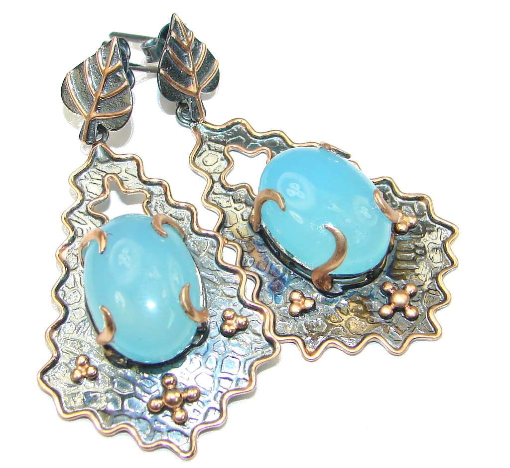 Big! Gorgeous LIght Blue Aquamarine, Rose Gold Plated, Rhodium Plated Sterling Silver Earrings