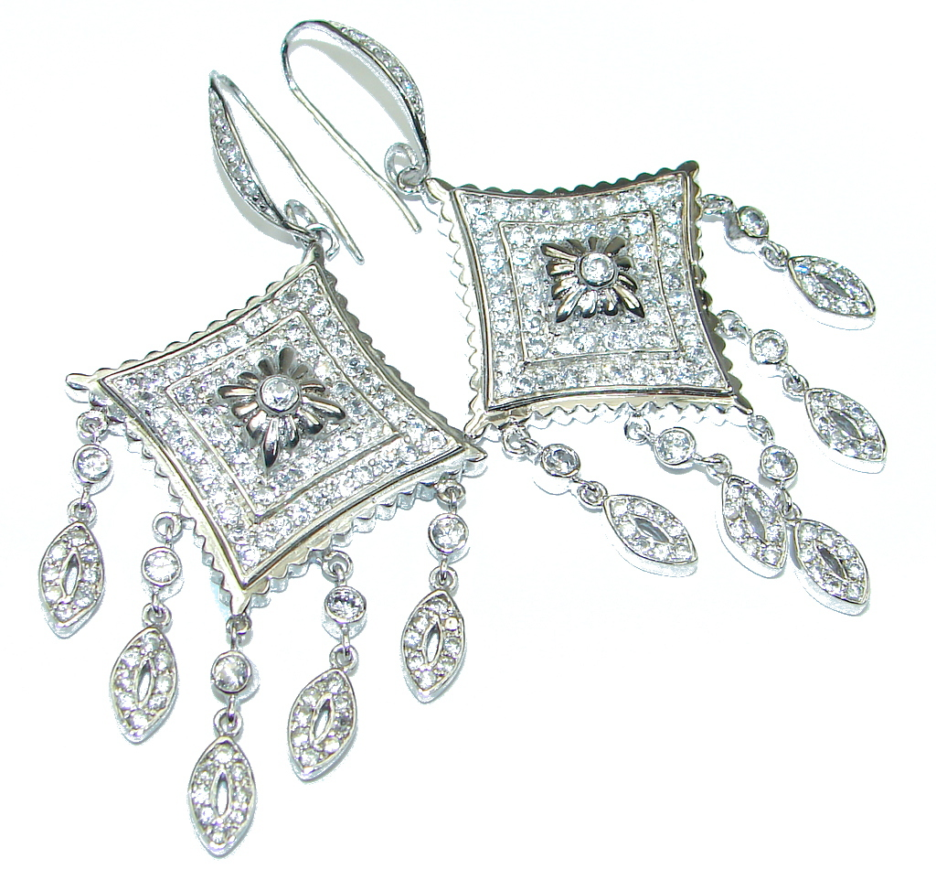 Big! Exclusive White Topaz Sterling Silver earrings