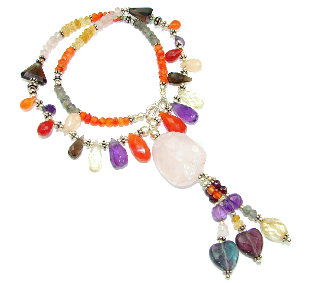 Aura Of Beauty! Multigem Sterling Silver necklace