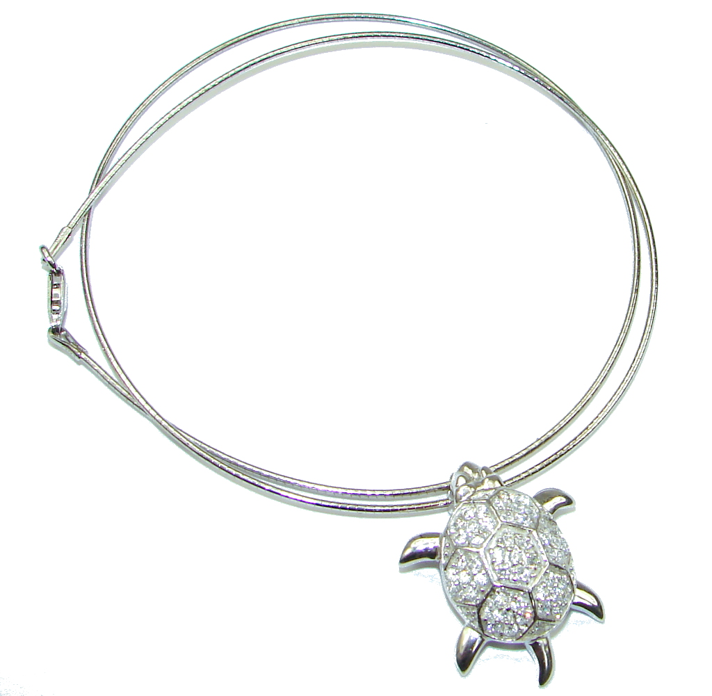 Baby Turtle! White Topaz Sterling Silver necklace