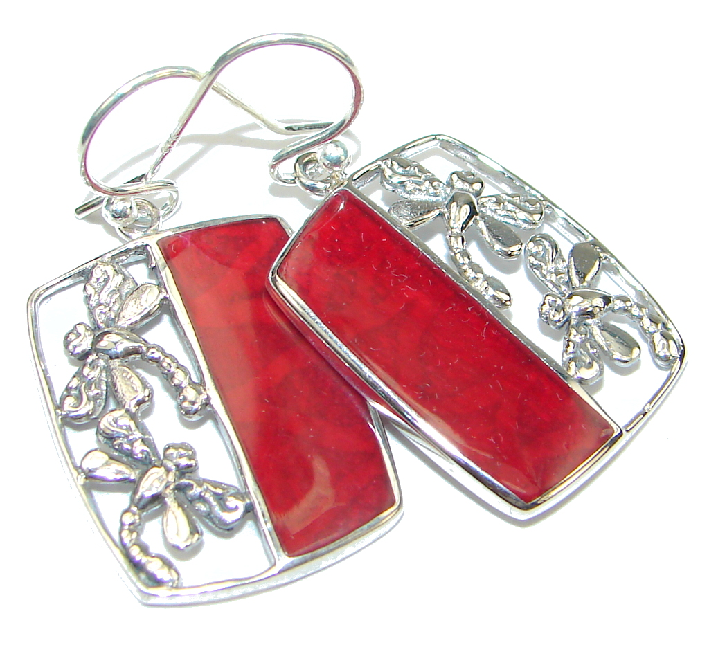 Delicate! Red Fossilized Coral Sterling Silver earrings