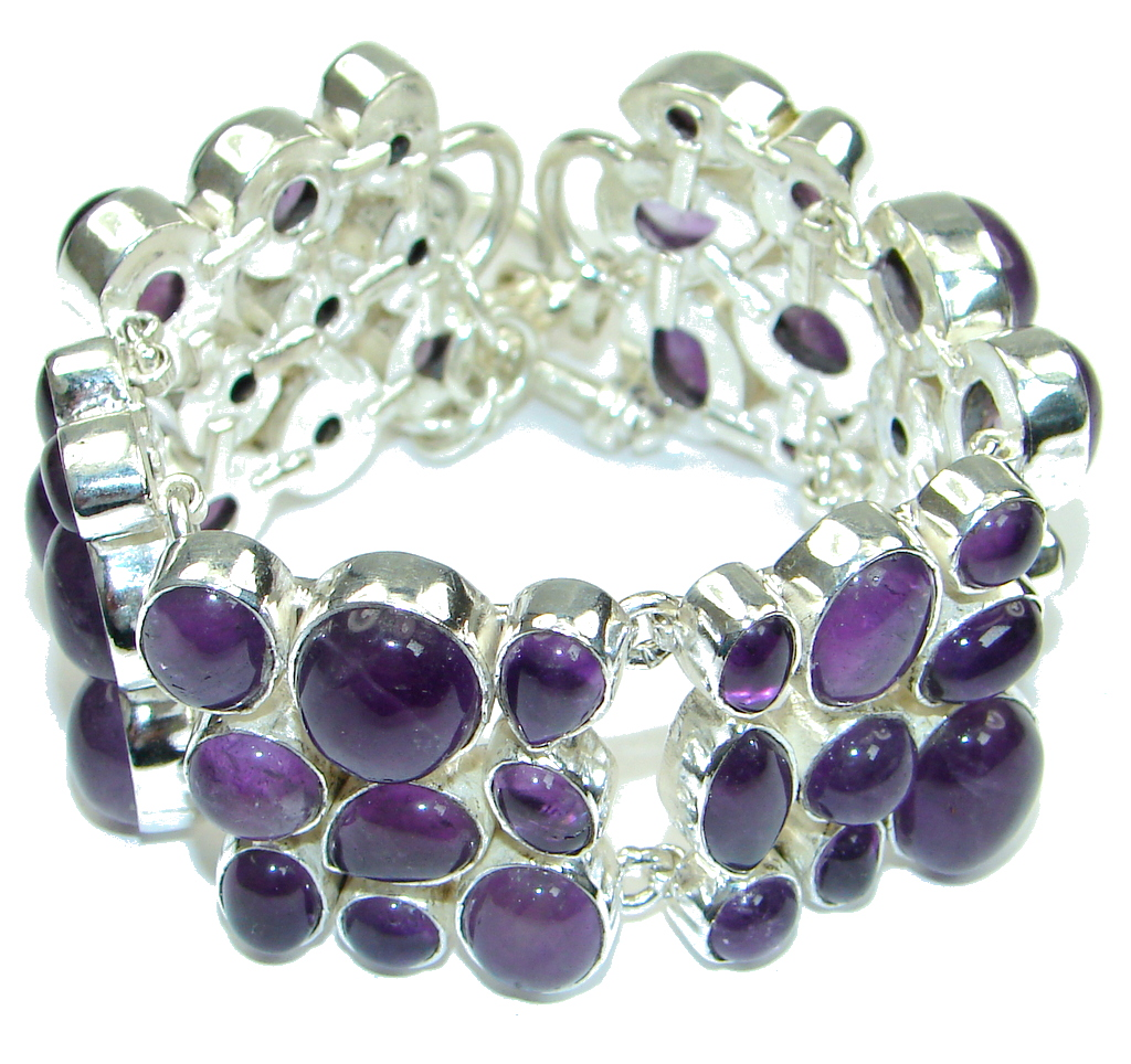 Awesome Purple Island! Amethyst Sterling Silver Bracelet