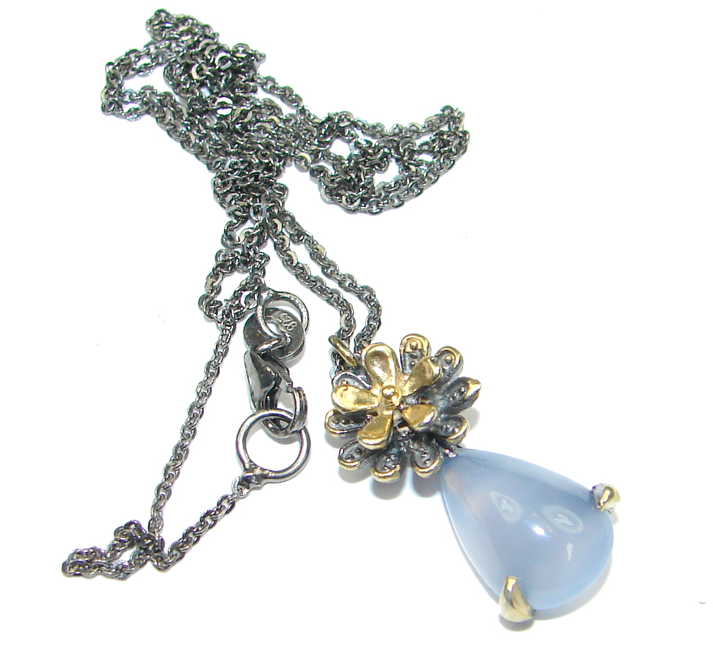 Delicate Light Blue Agate Rhodium Gold Sterling Silver necklace