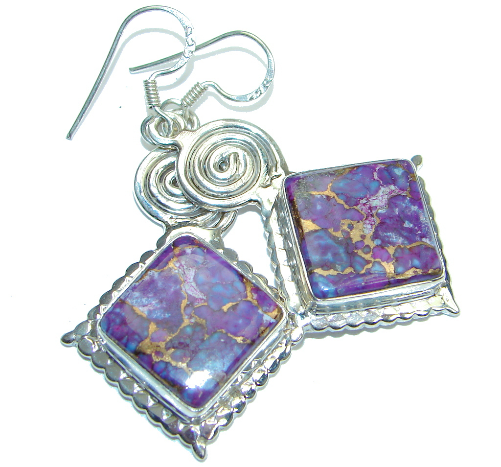 Excellent! Purple Copper Turquoise Sterling Silver earrings