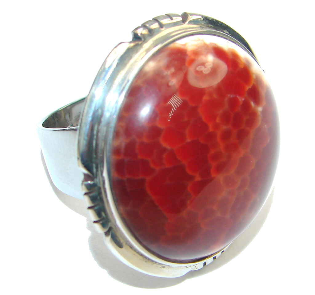 Beautiful Design! Mexican Fire Agate Sterling Silver ring s. 6