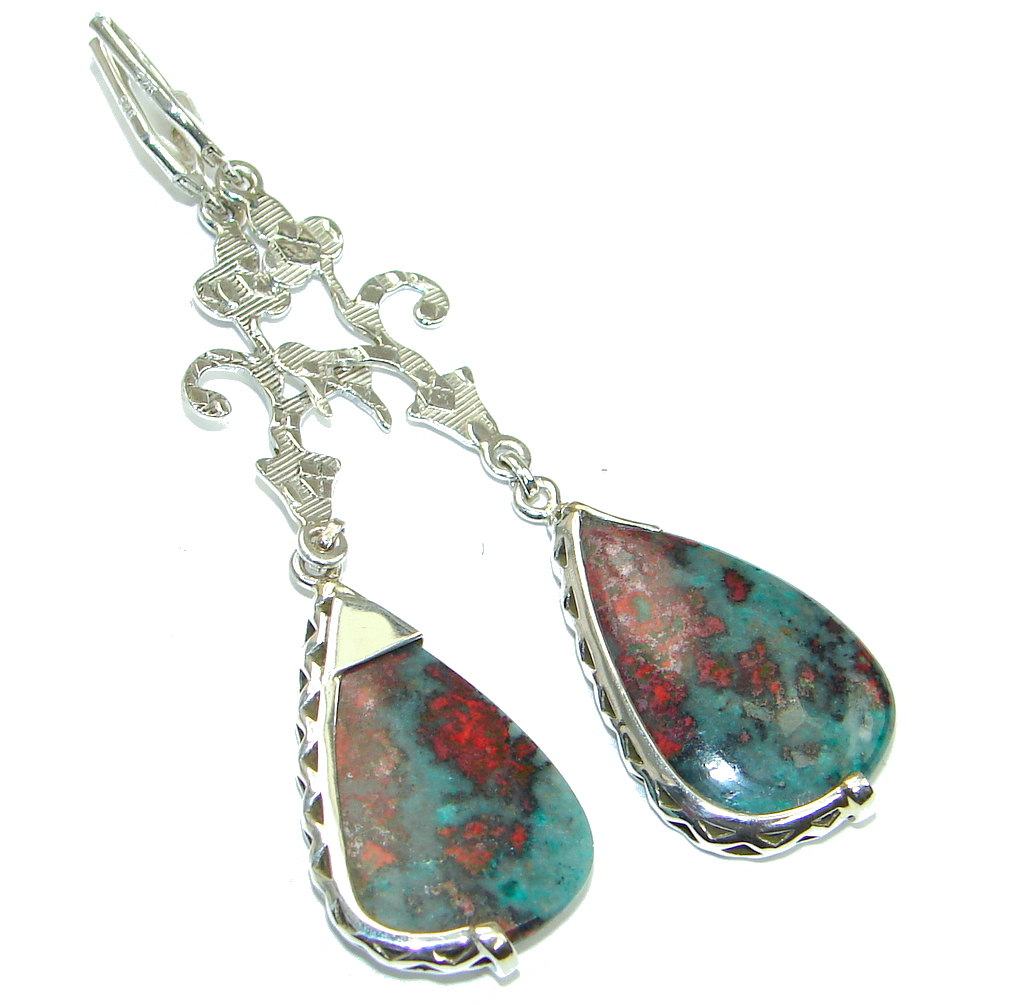 Evening Beauty! Montana Agate Sterling Silver earrings / Long