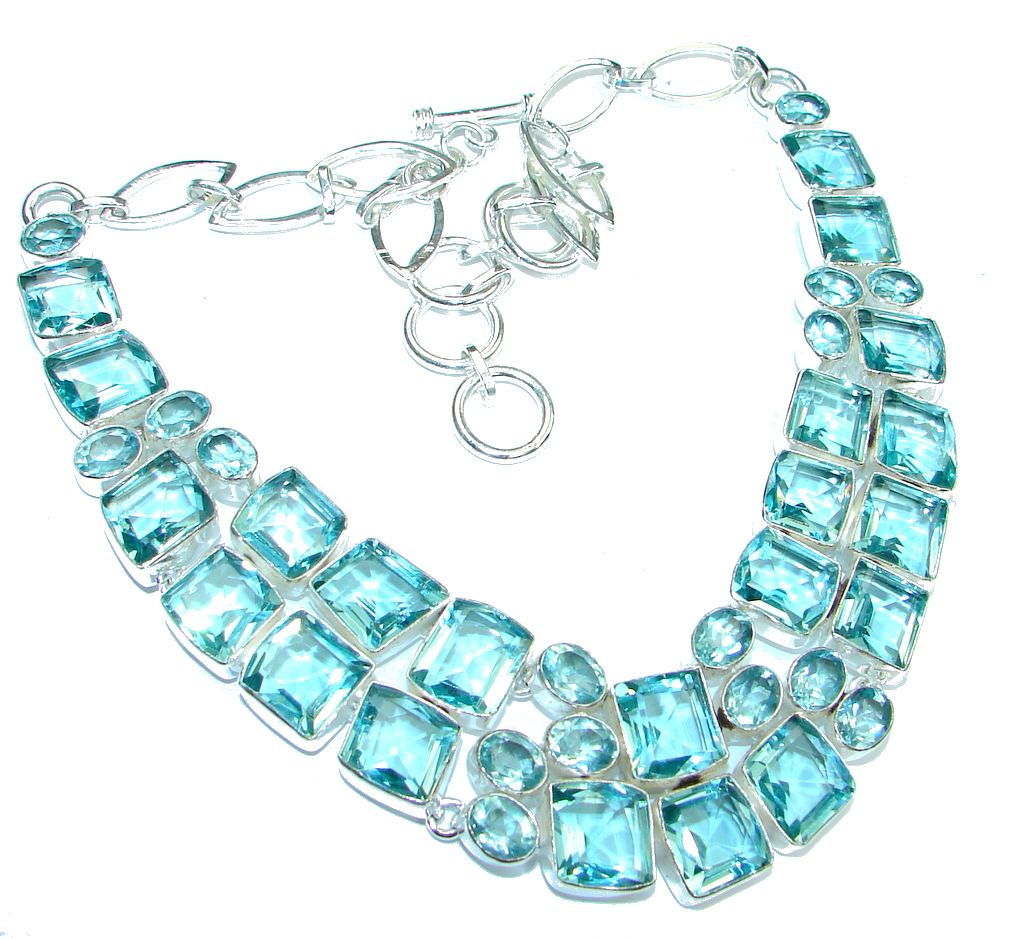 Awesome Beauty! Created Blue Topaz Sterling Silver necklace