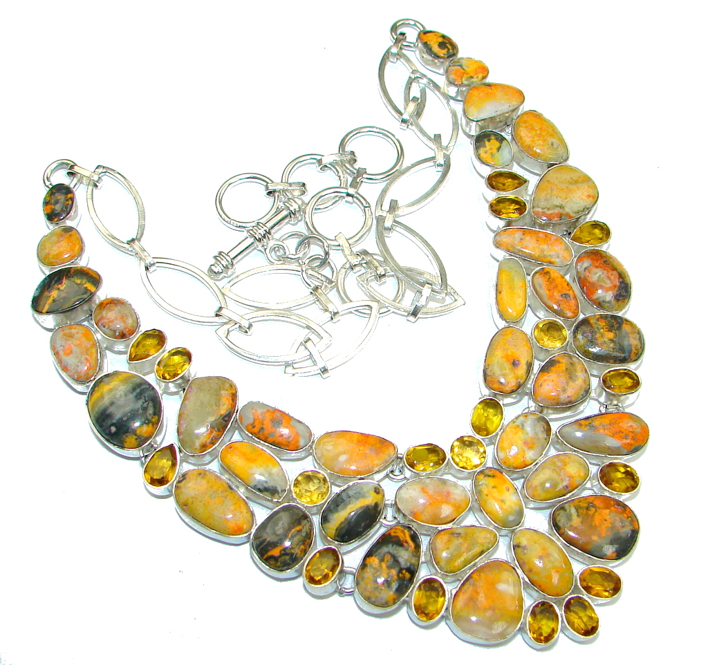 Aura Of Beauty! Yellow Bumble Bee Jasper & Citrine Sterling Silver Necklace