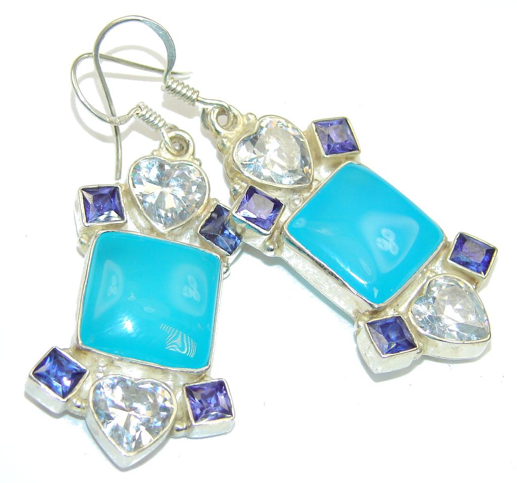 Blue Ocean! Agate Sterling Silver earrings