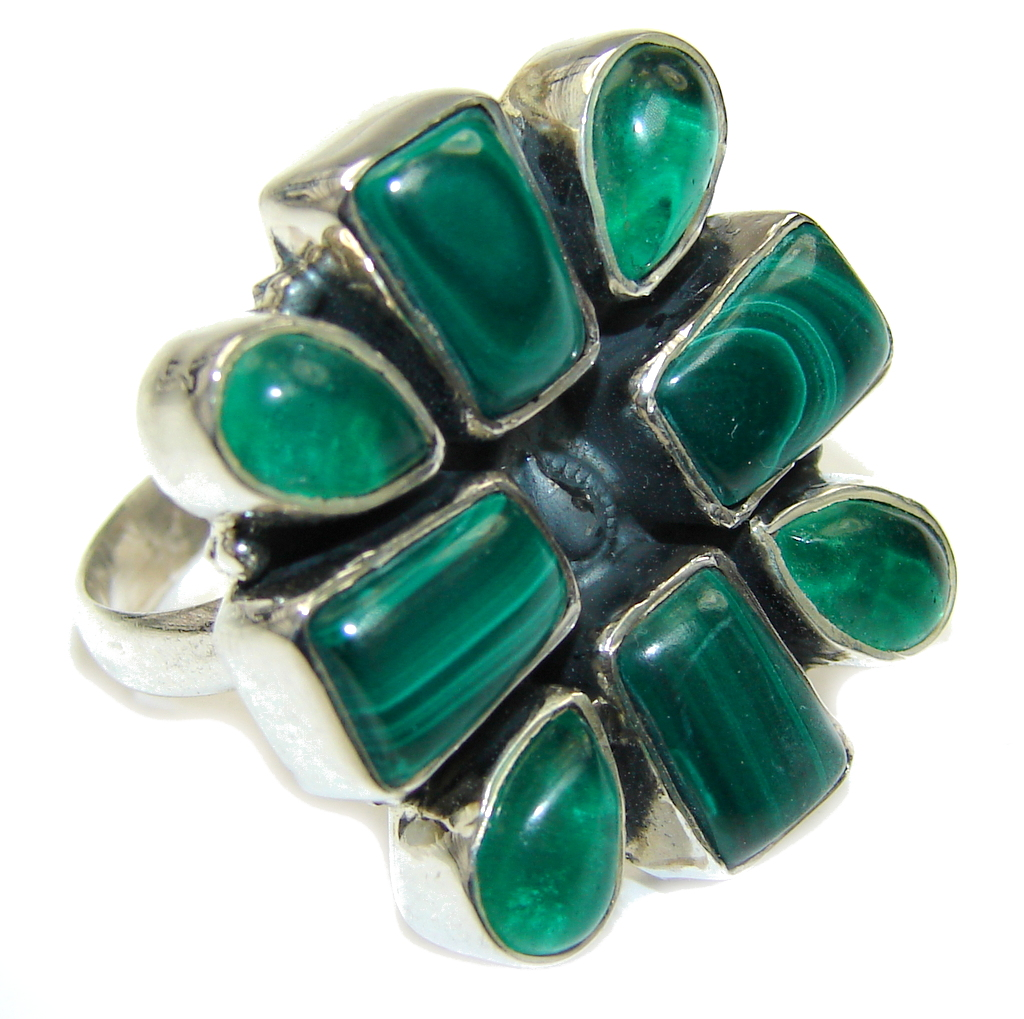 Secret Green Malachite & Green Agate Sterling Silver ring s. 10