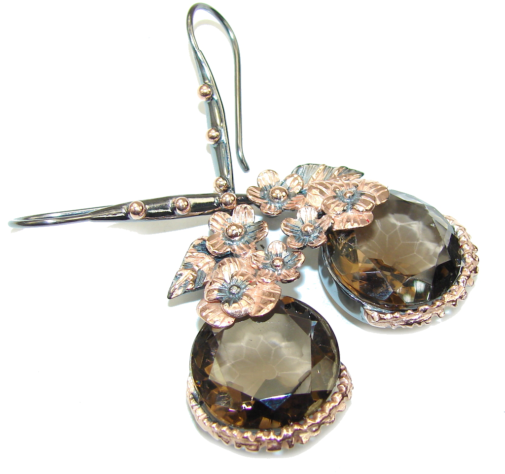 Beautiful Style! Smoky Topaz, Rose Gold Plated, Rhodium Plated Sterling Silver earrings / Long