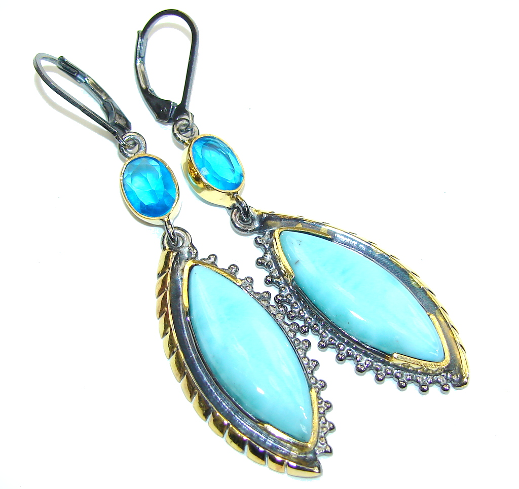Fashion AAA Blue Larimar & London Blue Topaz, Gold Plated, Rhodium Plated Sterling Silver earrings / Long