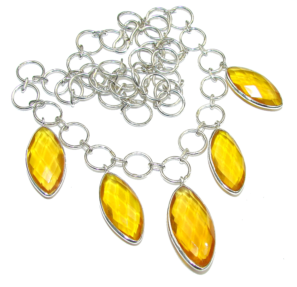 Pure In Heart! Created Citrine Sterling Silver necklace
