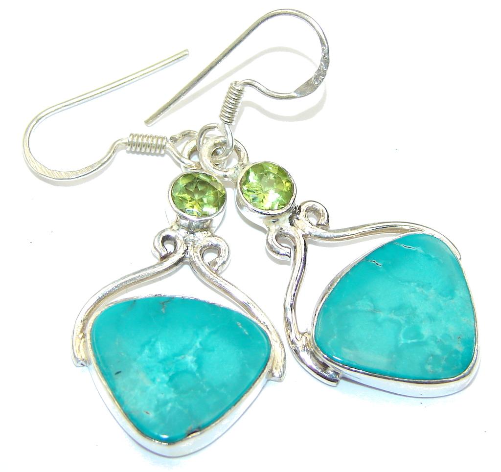 Fresh Green Turquoise & Quartz Sterling Silver earrings