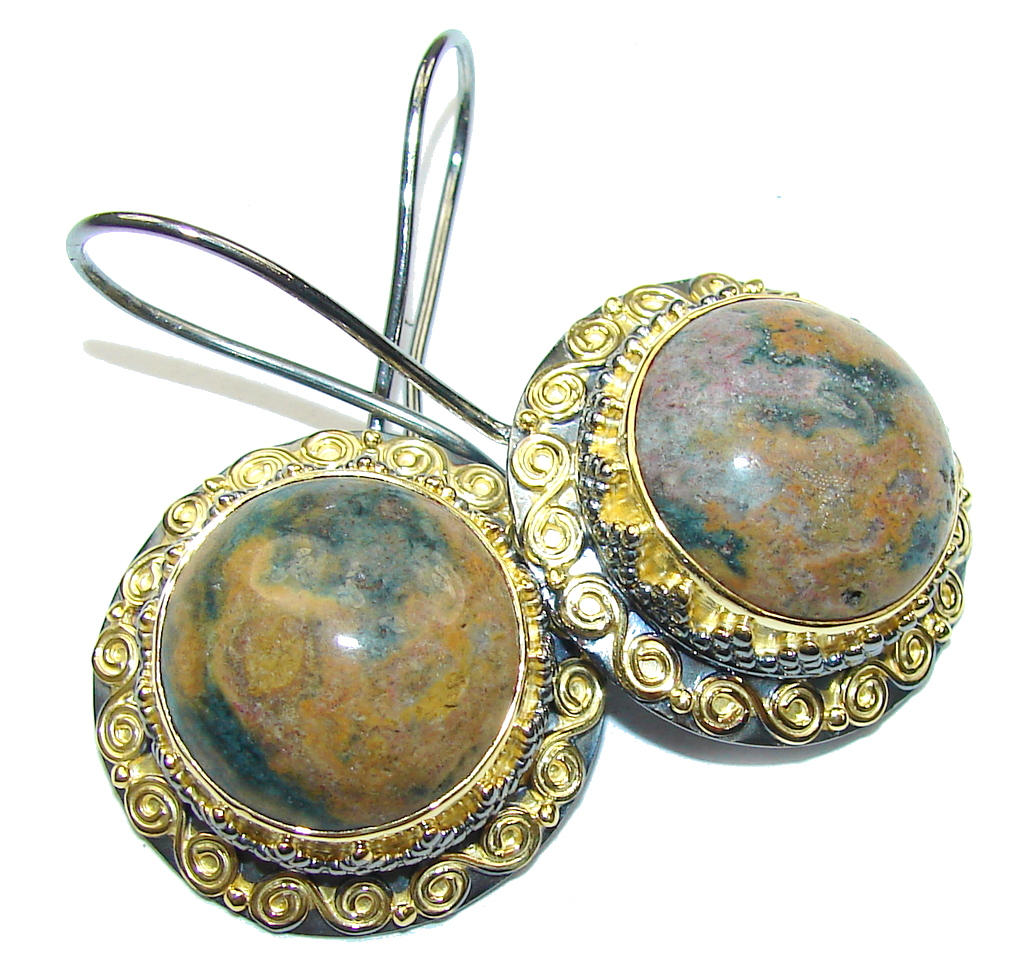 Fancy Quality! AAA Green Ocean Jasper, Gold Plated, Rhodium Plated Sterling Silver earrings