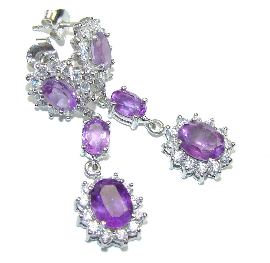Beautiful Design! Purple Amethyst & White Topaz Sterling Silver earrings