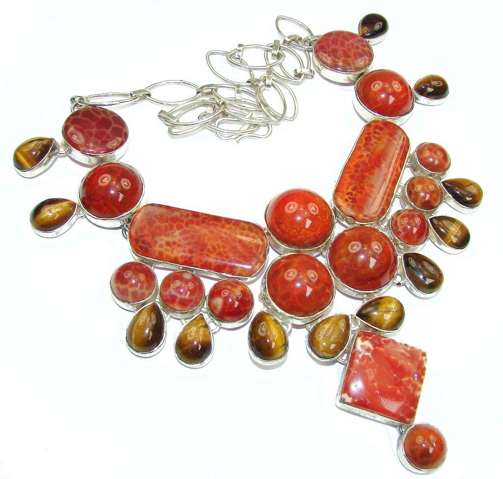 Big! Aura Of Beauty!! Mexican Fire Agate Sterling Silver necklace