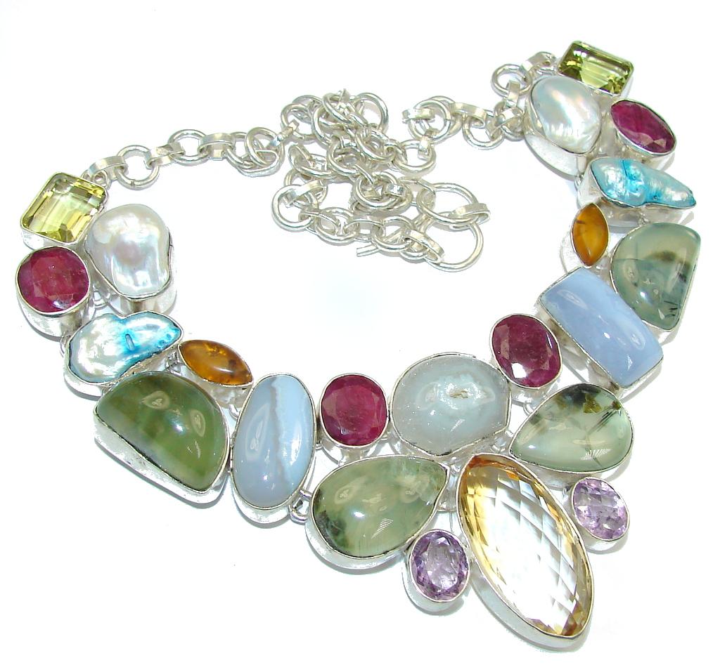 Aura Of Beauty!! AAA Multigem Sterling Silver Necklace