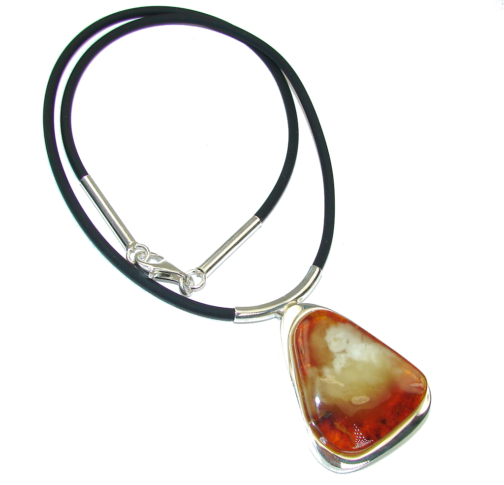 Natural AAA Baltic Polish Amber, Natural Leather necklace