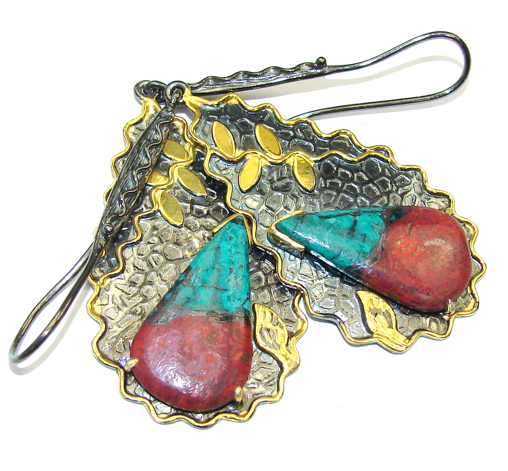 Beautiful Design! Red Sonora Jasper, Gold Plated, Rhodium Plated Sterling Silver Earrings / Long