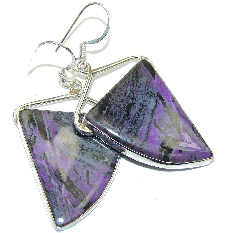 Awesome Purple Charoite Sterling Silver earrings