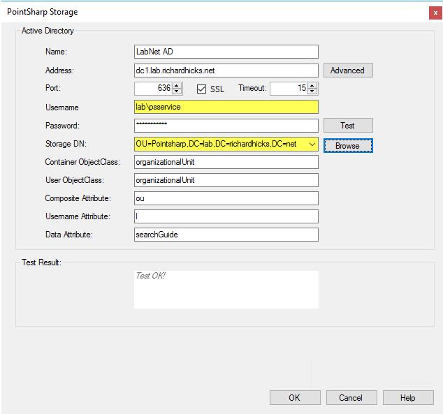 Pointsharp MFA User Storage Configuration